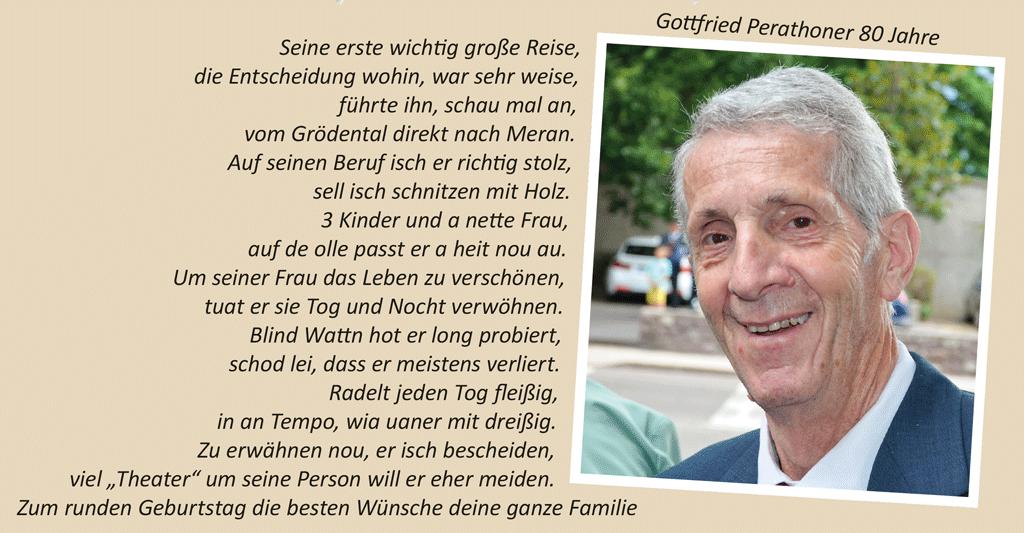 Gottfried Perathoner 80 Jahre