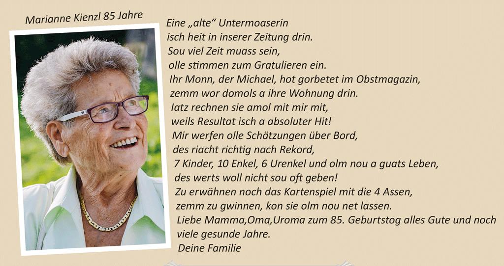 Marianne Kienzl 85 Jahre