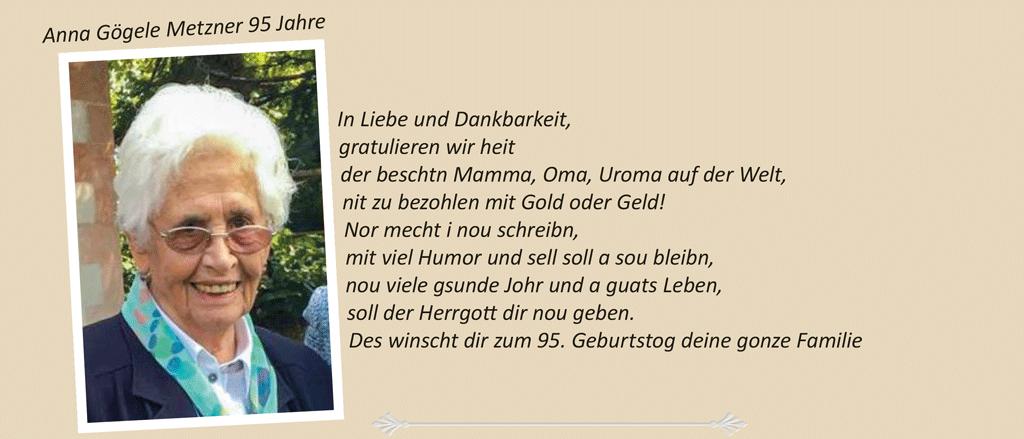 Anna Gögele Metzner 95 Jahre