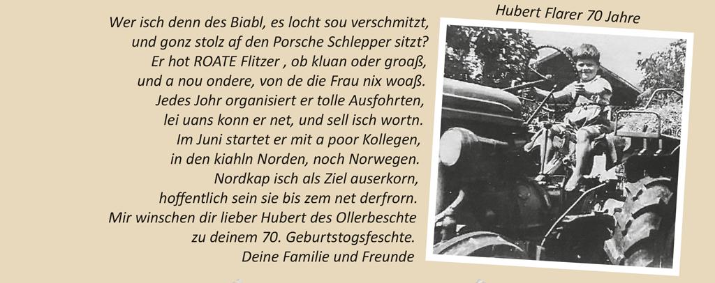 Hubert Flarer 70 Jahre