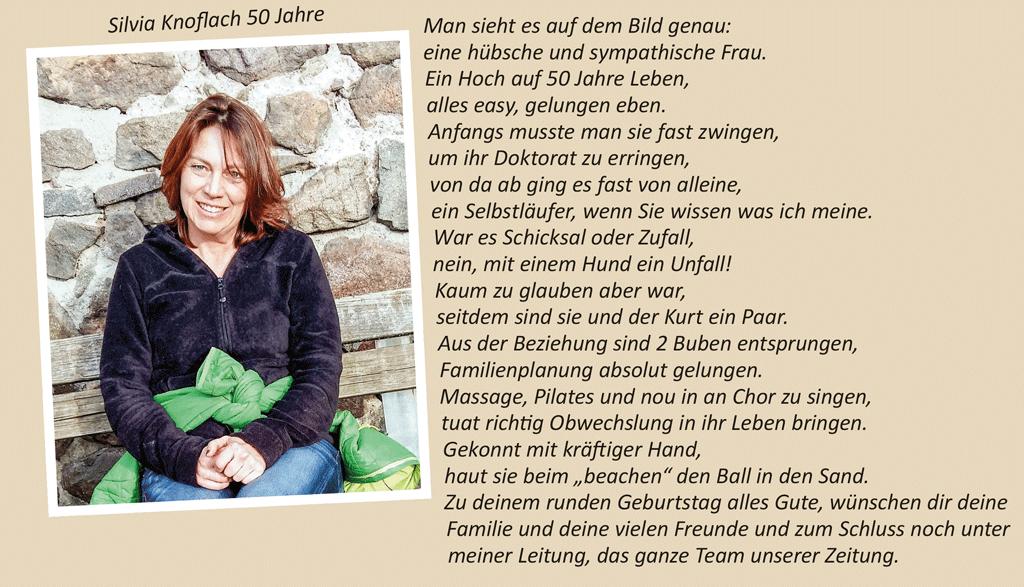 Silvia Knoflach 50 Jahre