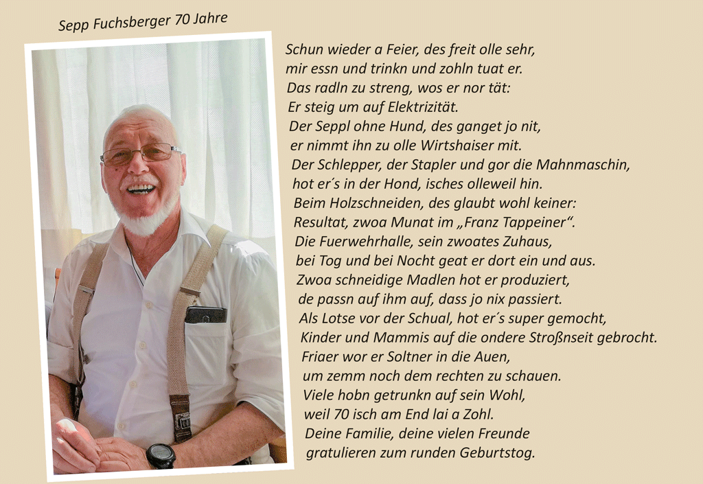 Sepp Fuchsberger 70 Jahre