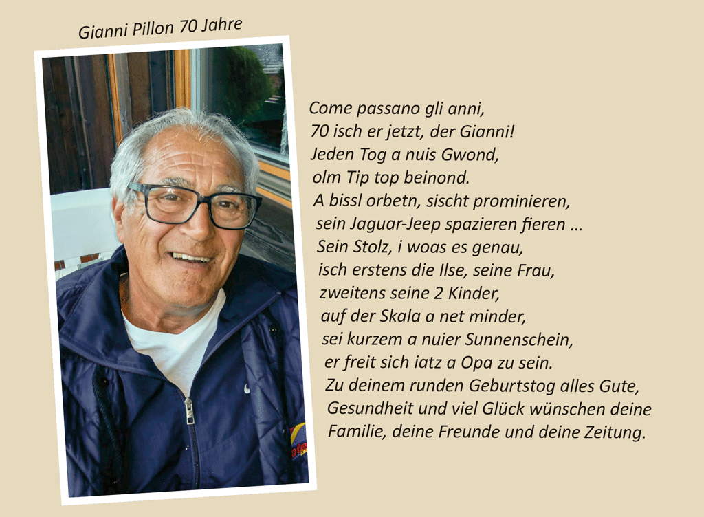 Gianni Pillon 70 Jahre
