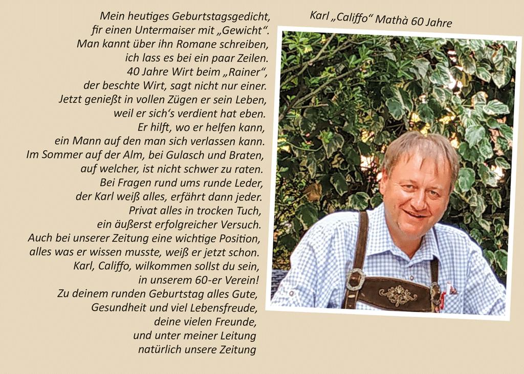 """Karl """"Califfo"""" Mathà 60 Jahre"""