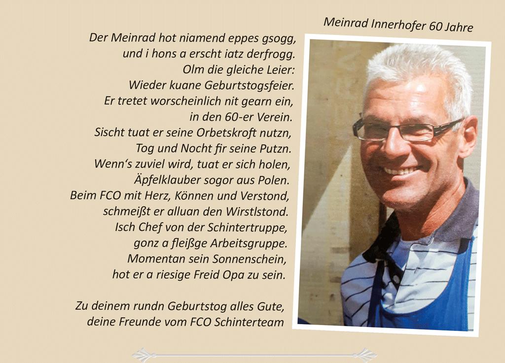 Meinrad Innerhofer 60 Jahre