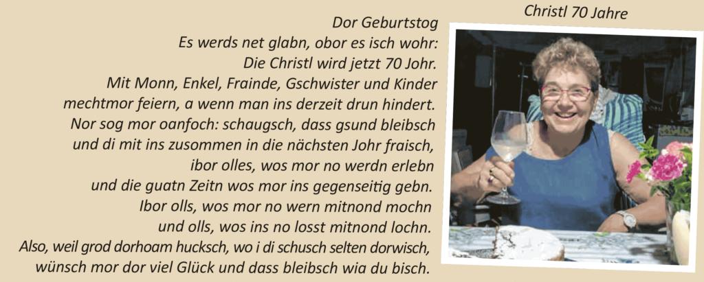 Christl 70 Jahre