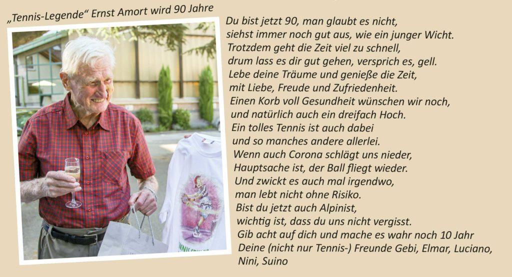 """""""Tennis Legende"""" Ernst Amort wird 90 Jahre"""