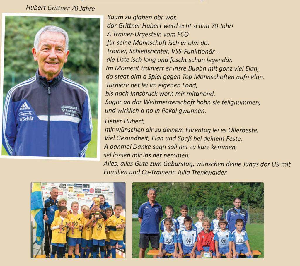 Hubert Grittner 70 Jahre