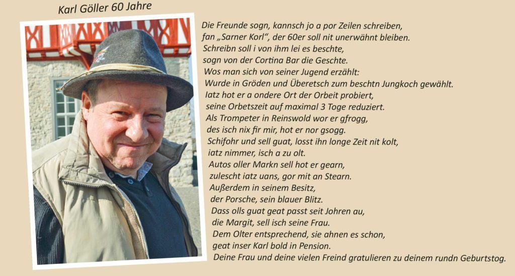Karl Göller 60 Jahre