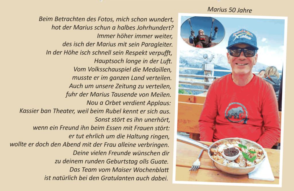 Marius 50 Jahre