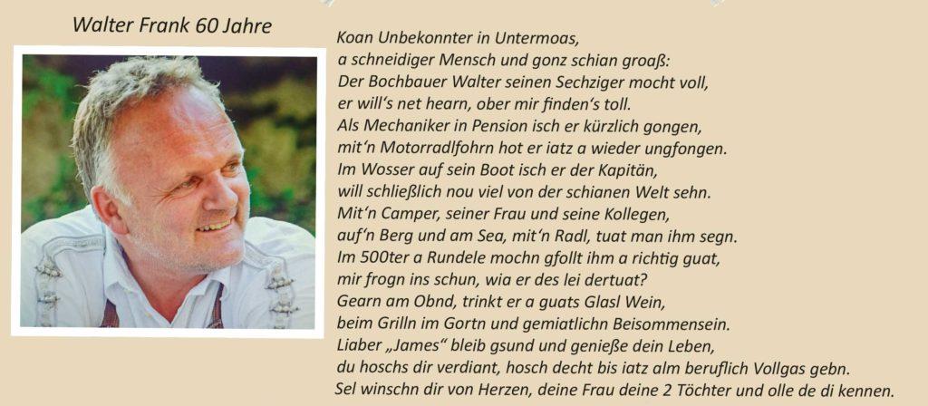 Walter Frank 60 Jahre